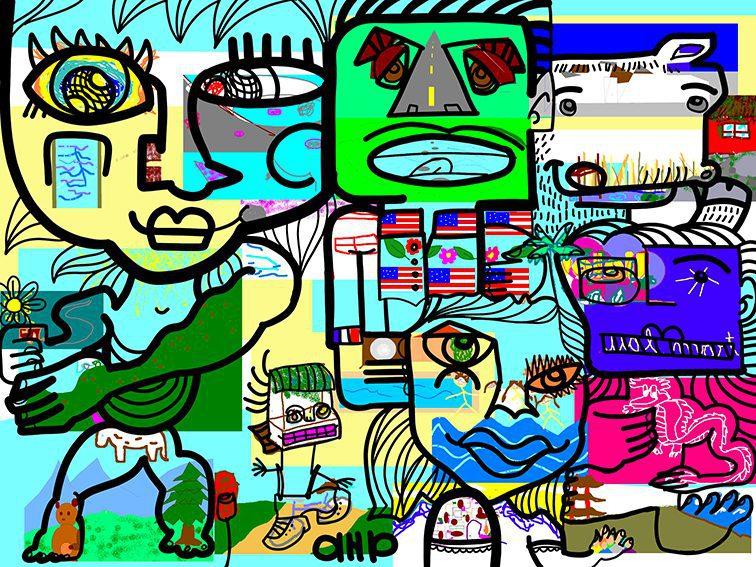 Fresque Virtuelle œuvre d'art digitale collaborative par aNa artiste pour team building à distance.