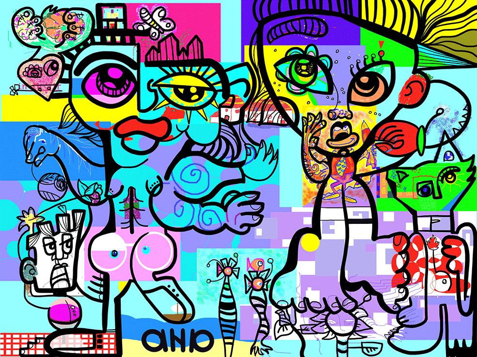 Fresque digitale œuvre d'art numérique Laval Virtual Festival Recto_VRso #1 créée par aNa artiste virtuelle à distance